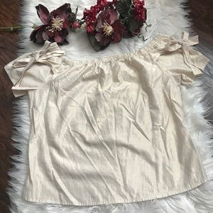 a.n.a off the shoulder bow metallic gold top